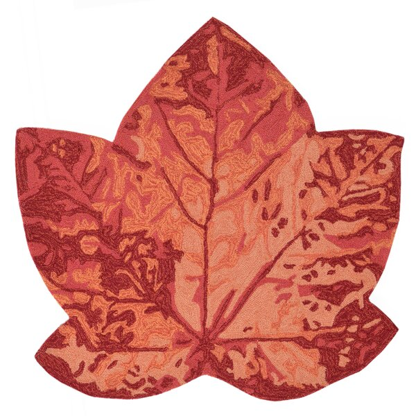 Treport Maple Leaf Handmade Orange Indoor/Outdoor Area Rug by August Grove