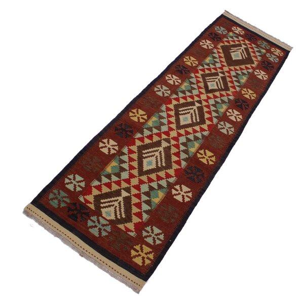 One-of-a-Kind Fenoglio Handmade Kilim Runner 2'9 x 9'9 Wool Dark Red Area Rug