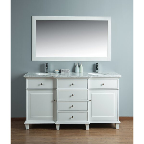 60 Double Sink Bathroom Vanity Set with Mirror by