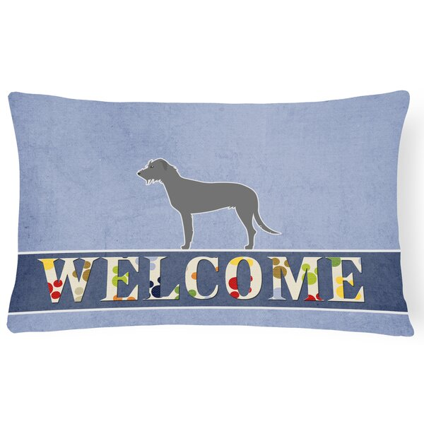 Dorset Irish Wolfhound Welcome Lumbar Pillow by Red Barrel Studio
