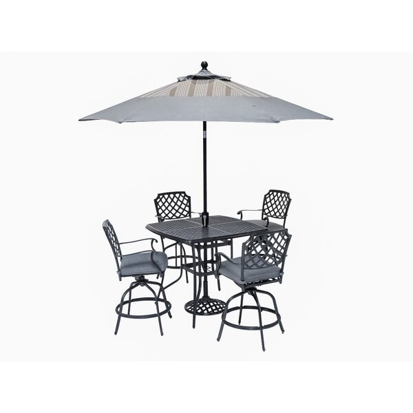 Pinheiro 5 Piece Sunbrella Bar Height Dining Set with Cushions by Canora Grey