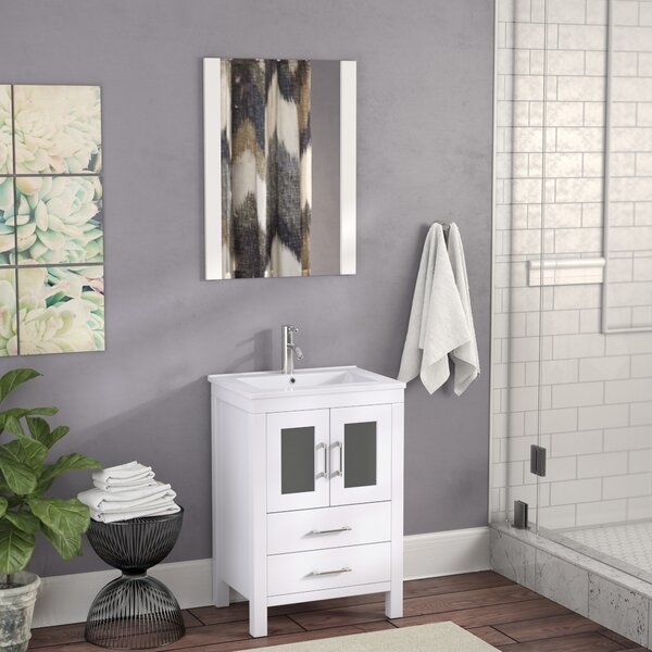 Cartagena 24 Single Bathroom Vanity Set with Ceramic Top and Mirror by Mercury Row