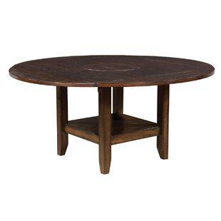 Berg Solid Wood Dining Table with Open Shelf Base by Millwood Pines