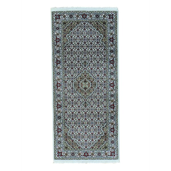 One-of-a-Kind Gholson Tabriz Mahi Oriental Hand-Knotted Silk Ivory Area Rug by World Menagerie