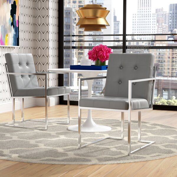 Bellamy Chrome Upholstered Dining Chair (Set Of 2) By Everly Quinn