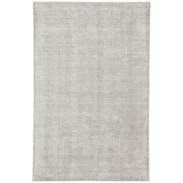 Lindell Solid Hand-Woven Light Gray Area Rug by Wrought Studio