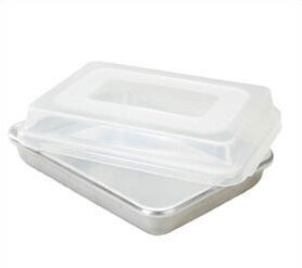 Natural Commercial Rectangular Cake Pan with Lid by Nordic Ware