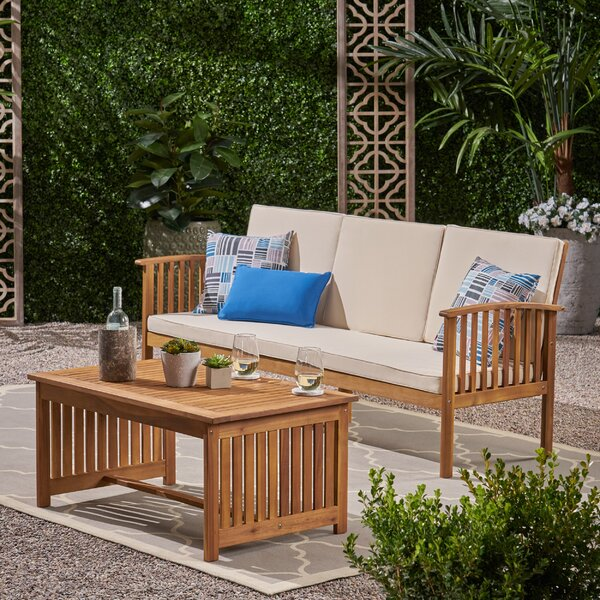 Olympia Outdoor 2 Piece Sofa Seating Group with Cushions by Breakwater Bay