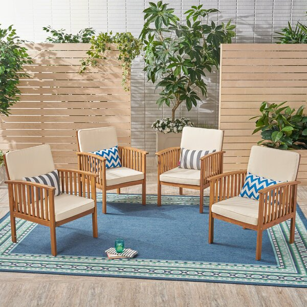 Safira Outdoor Patio Chair with Cushions (Set of 4) by Beachcrest Home Beachcrest Home