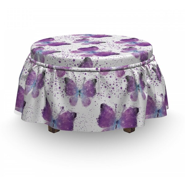 Butterfly Modern Poly Effect 2 Piece Box Cushion Ottoman Slipcover Set By East Urban Home