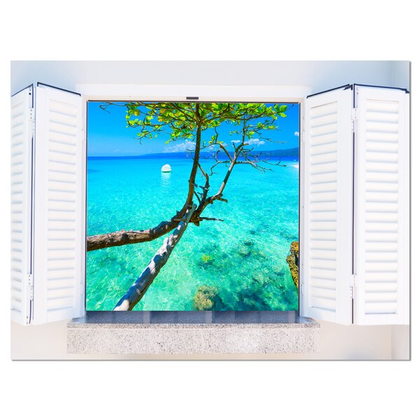 Open Window to Gorgeous Seashore Photographic Print on Wrapped Canvas by Design Art