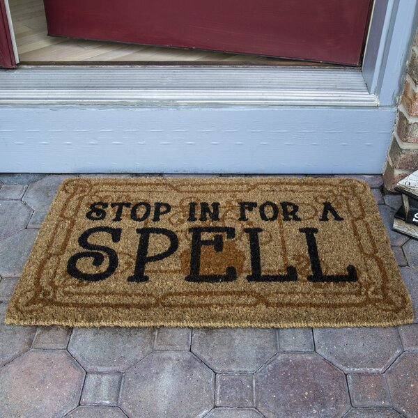 Stop in for a Spell Handwoven Coconut Fiber Doormat by The Holiday Aisle