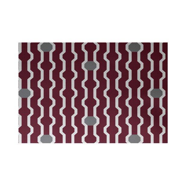 Uresti Decorative Holiday Geometric Print Cranberry Burgundy Indoor/Outdoor Area Rug by Wrought Studio