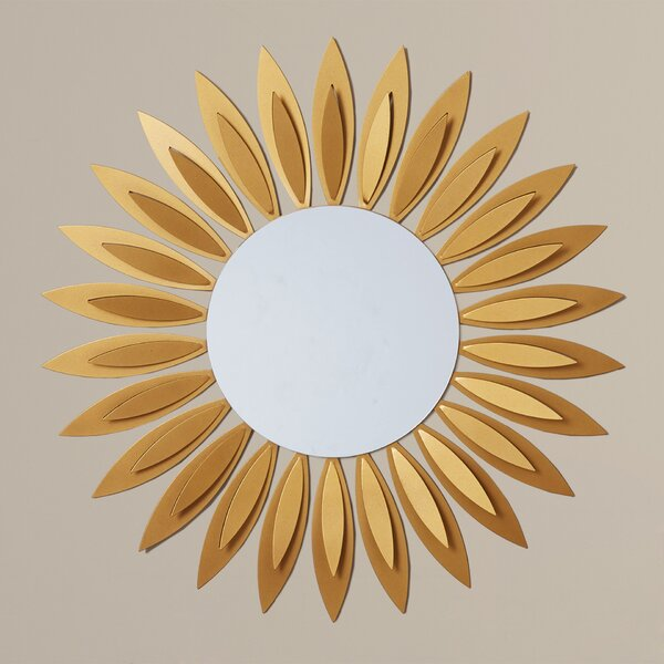 Sunflower Metal Wall Mirror by Latitude Run