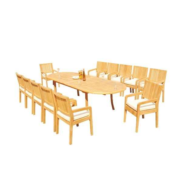 Mastin 13 Piece Teak Dining Set by Rosecliff Heights