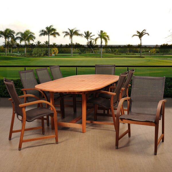 Ranks International Home Outdoor 9 Piece Dining Set by Ebern Designs