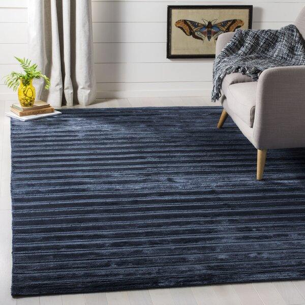 Maxim Navy/Blue Striped Rug by Brayden Studio