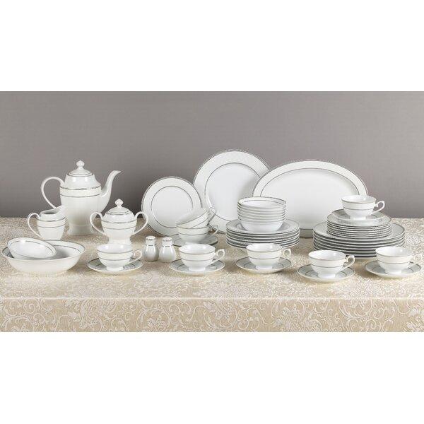 Silver 57 Piece New Bone China Dinnerware Set, Service for 8