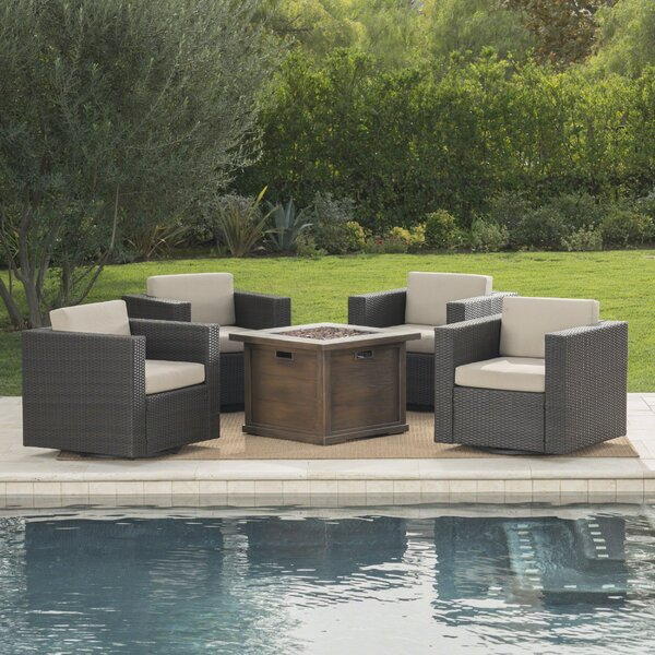 Cirillo 5 Piece Seating Group with Cushions by Rosecliff Heights