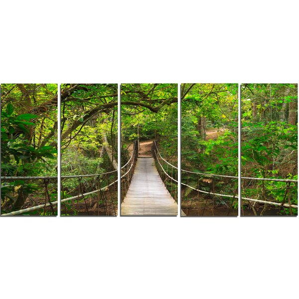 Bridge to Jungle, Thailand 5 Piece Wall Art on Wrapped Canvas Set by Design Art