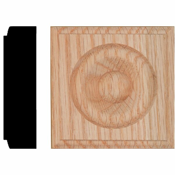 7/8 in. x 3-1/4 in. x 3-1/4 in. Red Oak Rosette Block Moulding by Manor House