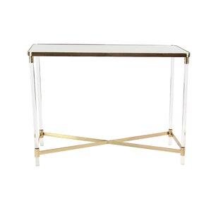 Ozzy Modern Iron and Acrylic Rectangular Mirror Console Table by Everly Qu..