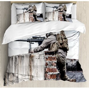 War Home Army Sniper Warrior Targeting On Roof During The Operation  Commando Task Theme Duvet Set
