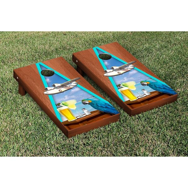 Margarita Beach Themed Rosewood Stained Triangle Version 2 Cornhole Game Set by Victory Tailgate