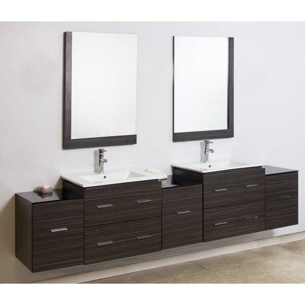 90 Wall Mount Double Modern Bathroom Vanity Set