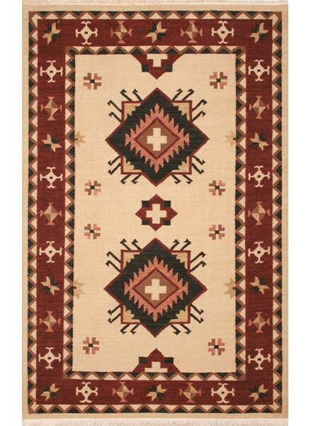 Hand-Woven Beige/Burgundy Area Rug by The Conestoga Trading Co.