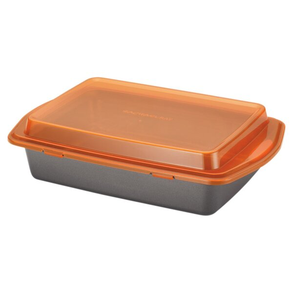 Covered Cake Pan in Pewter & Orange by Rachael Ray