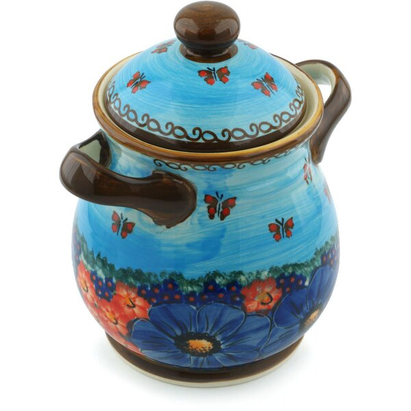 Polish Pottery Field of Butterflies with Lid and Handles Kitchen Canister by Polmedia