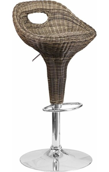 Pervez Wicker 3 Low Cutout Back Adjustable Height Swivel Bar Stool by Highland Dunes