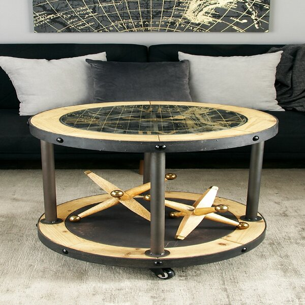 Metal and Wood Clock End Table by Cole & Grey