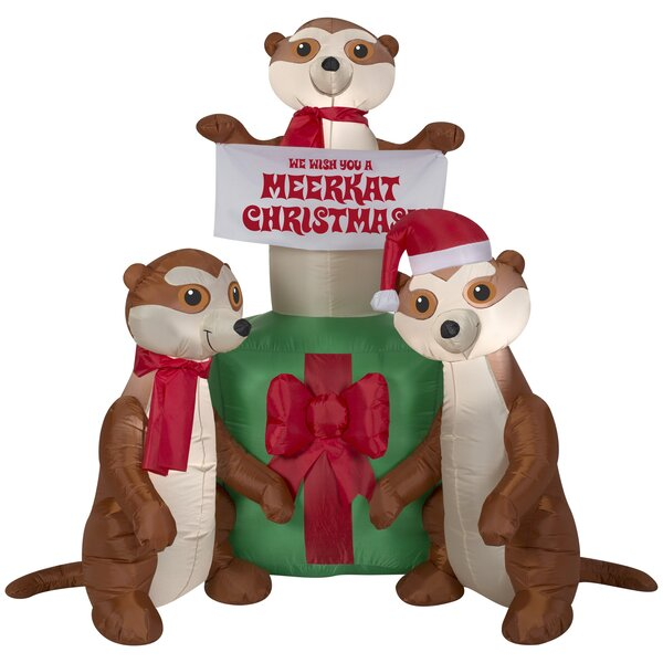 Meercats and Gift Scene Christmas Oversized Figurine by The Holiday Aisle