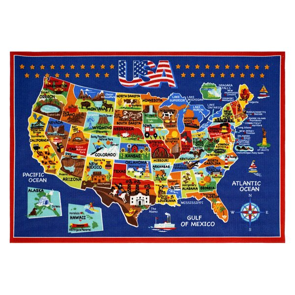 USA Map Area Rug by Smithsonian Rugs