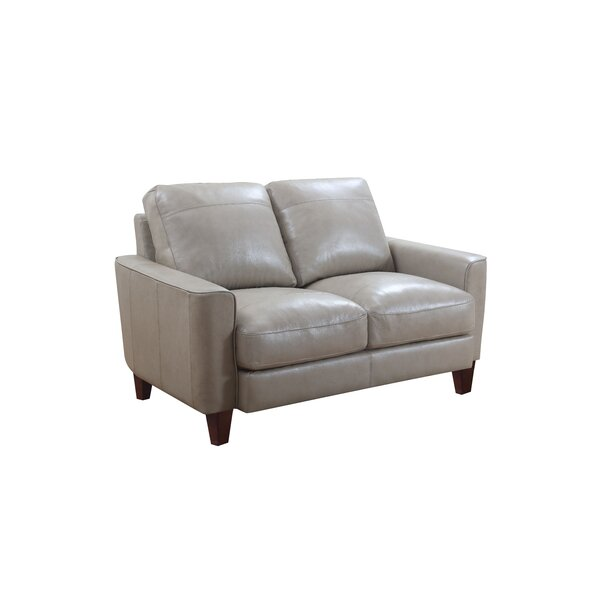 Review Izaiah Leather Loveseat