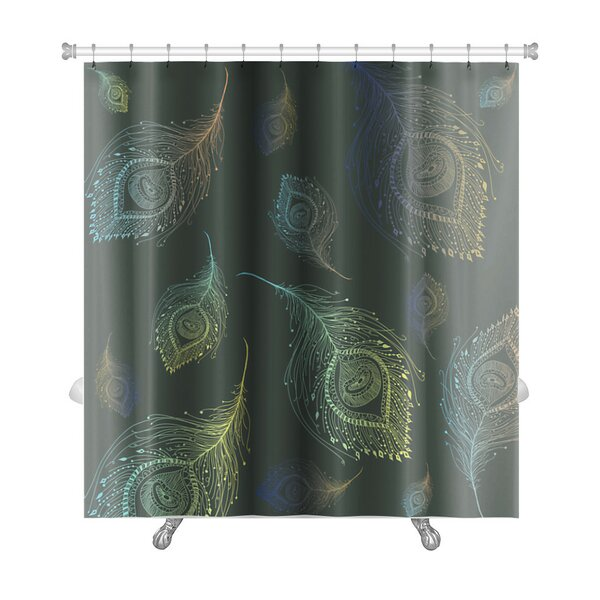 Leaves Peacock Feather Premium Shower Curtain by Gear New