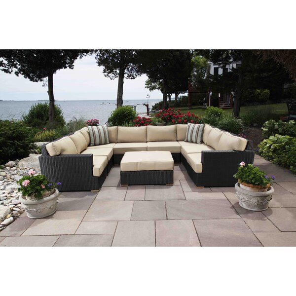 Salina 8 Piece Rattan Sectional Seating Group with Cushions by Madbury Road