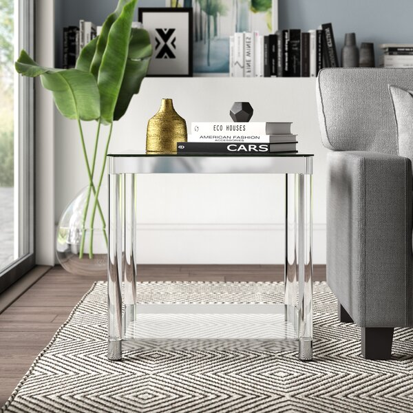 Mcgrady Glass Top End Table By Mercury Row