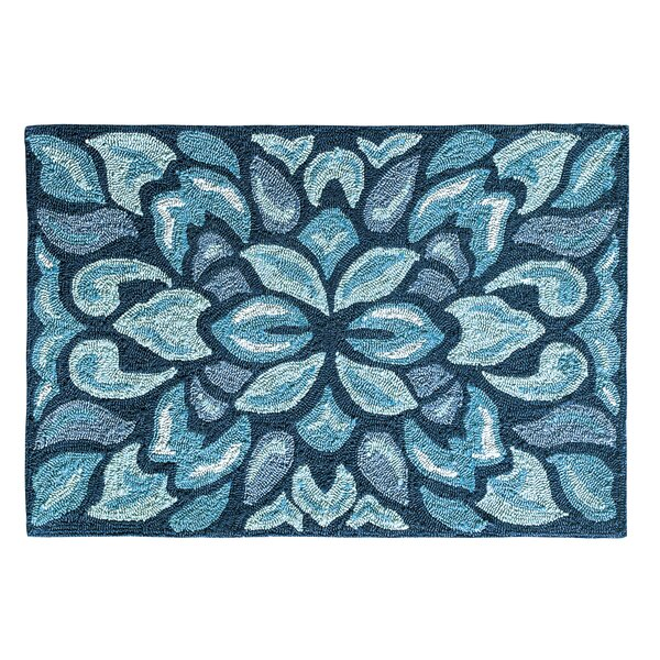Petal Pusher Mineral Blue Indoor/Outdoor Area Rug by CompanyC
