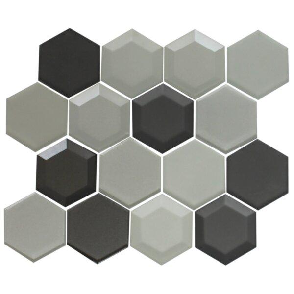 Hexagon Random Sized Glass Mosaic Tile in Silver/Gray by Susan Jablon