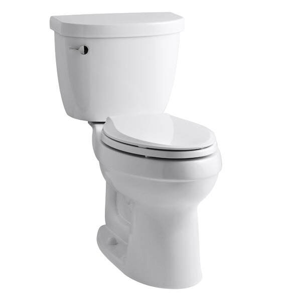 Cimarron Comfort Height Two-Piece Elongated 1.6 GPF Toilet with Aquapiston Flush Technology, Left-Hand Trip Lever and Tank Locks by Kohler