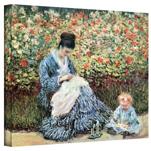 ''Mother and Child'' by Claude Monet Painting Print on Wrapped Canvas by ArtWall