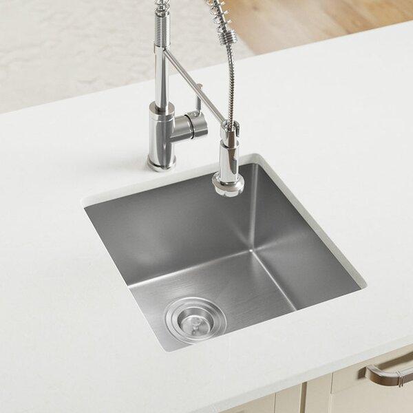 Stainless Steel 17 L x 17 W Undermount Kitchen Sink With Basket Strainer by MR Direct