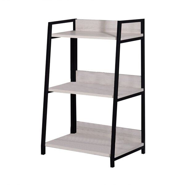 Wooden Bookshelf With 3 Open Compartments, Washed White And Black By Ebern Designs