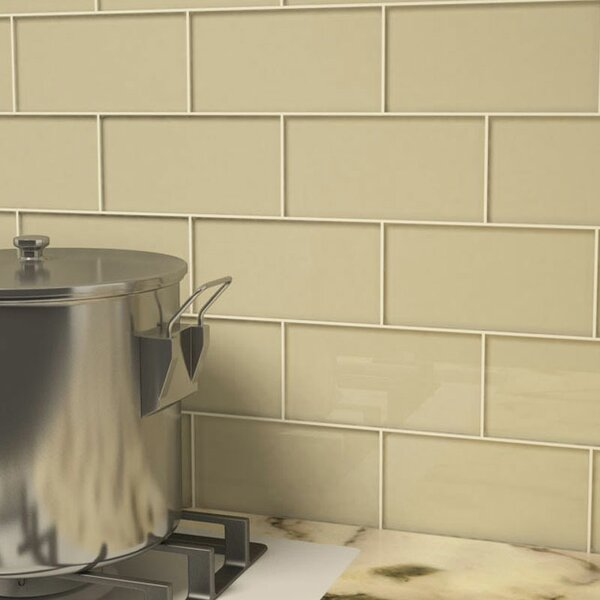 3 x 6 Glass Subway Tile in Light Taupe by Giorbell
