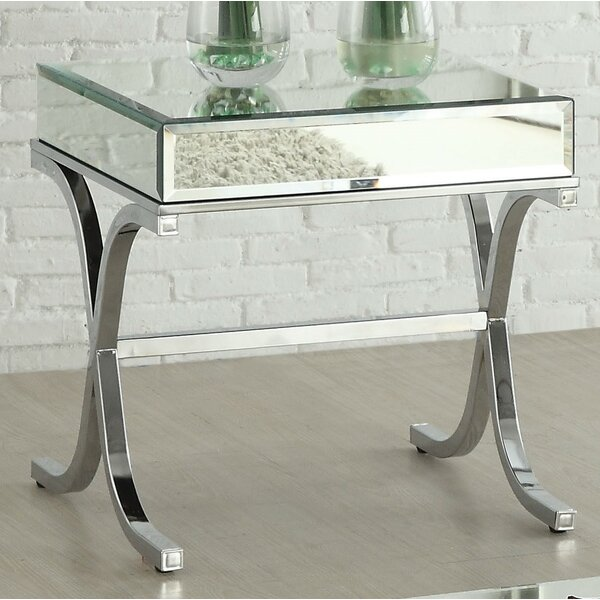 Khalid Mirrored Top End Table By Rosdorf Park