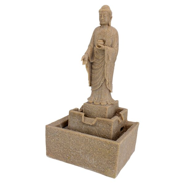Resin Earth Witness Buddha Illuminated Garden Fountain with LED Light by Wildon Home ®