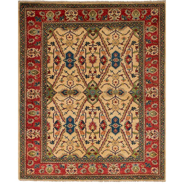 One-of-a-Kind Noriko Traditional Hand-Knotted Wool Cream Area Rug by Isabelline